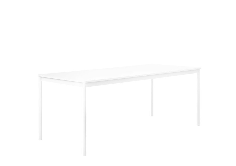 Muuto Table Base carrée - blanc - L - bordures vernies - stratifié blanc